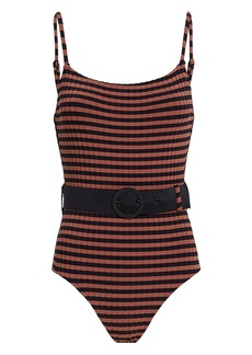 Solid & Striped Nina Belted One Piece Striped Swimsuit
