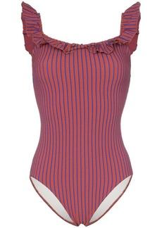 Solid & Striped off shoulder seersucker swimsuit