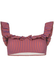 Solid & Striped off the shoulder ruffle bikini top