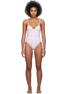 Solid & Striped Pink & White Tie-Dye 'The Olympia' One-Piece Swimsuit