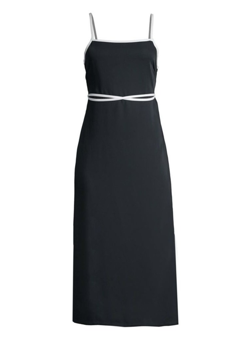 Solid & Striped Sleeveless Wrap-Waist Apron Dress