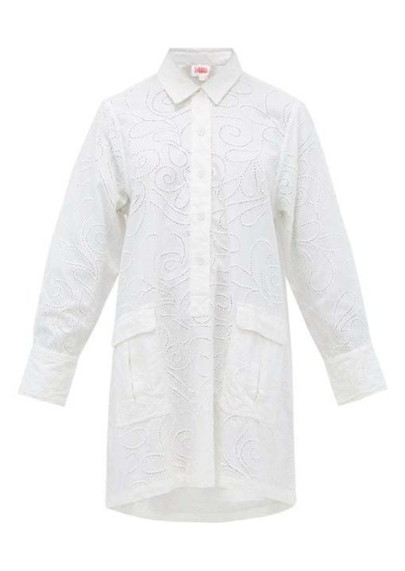 Solid & Striped Eyelet-embroidered cotton shirt dress