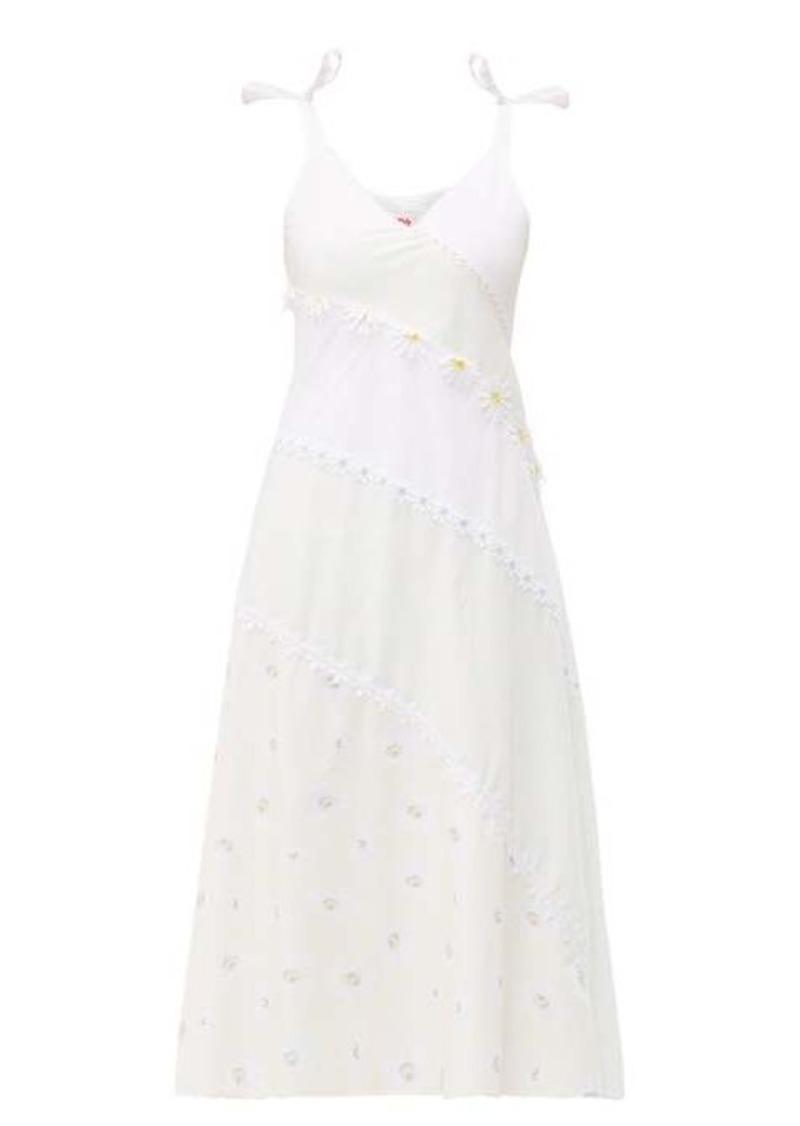 Solid & Striped Floral-embellished bias-cut cotton dress