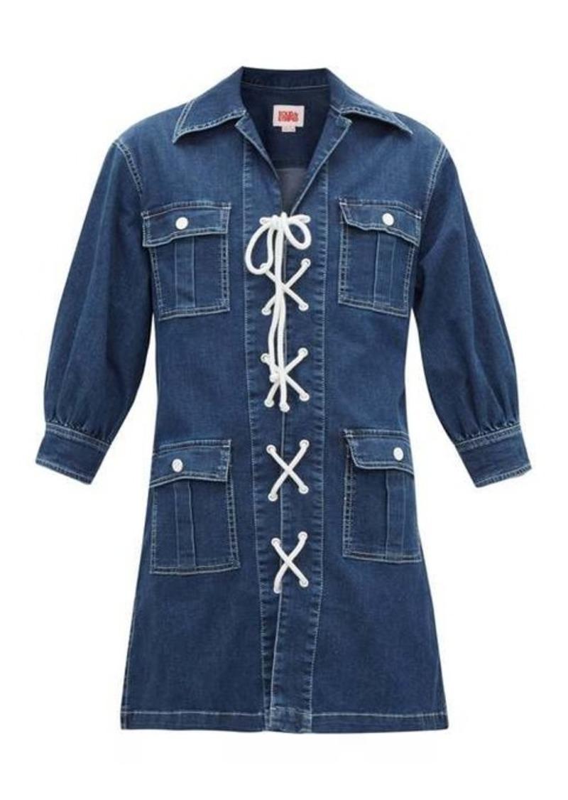 Solid & Striped Lace-up denim mini shirt dress