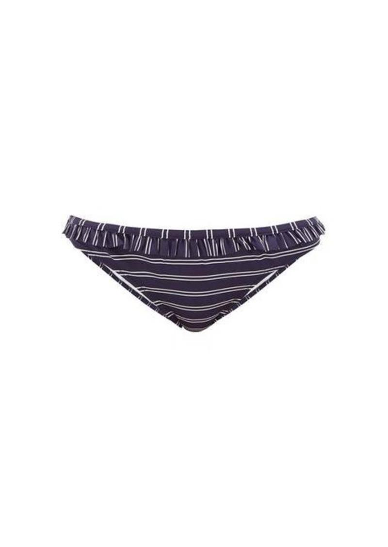 Solid & Striped Millie striped ruffled bikini briefs