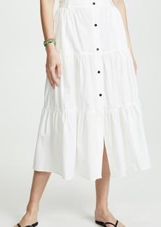 Solid & Striped Poplin Long Skirt