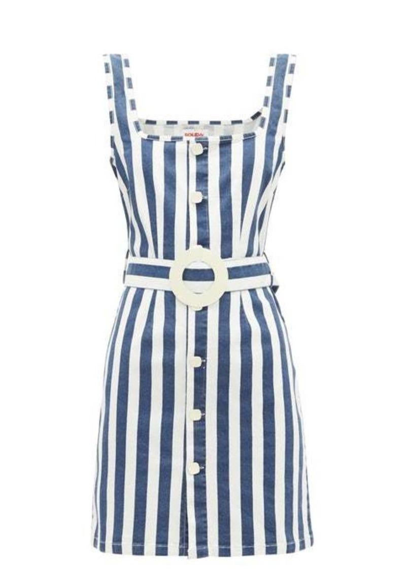 Solid & Striped Striped stretch-denim dress