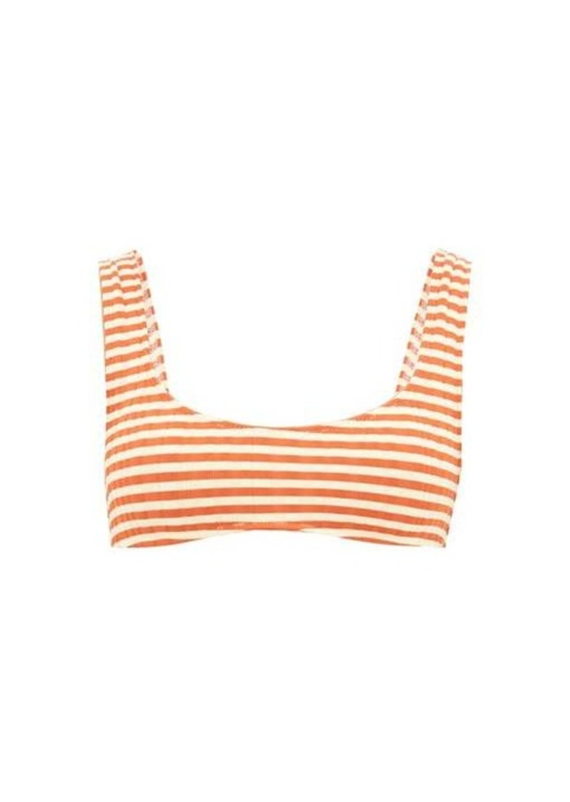 Solid & Striped The Elle striped ribbed-jersey bikini top