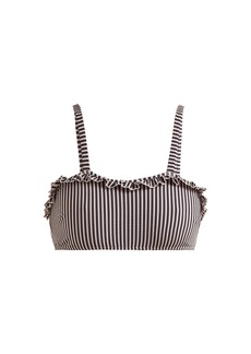 Solid & Striped The Leslie ruffle-trimmed striped bikini top
