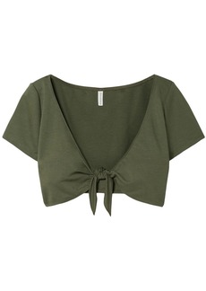 Solid & Striped Woman Cropped Tie-front Stretch-ponte Top Army Green