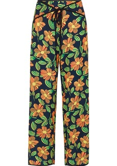 Solid & Striped Woman Floral-print Crepe Wide-leg Pants Navy