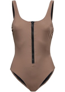 Solid & Striped Woman The Anne Marie Zip-detailed Swimsuit Mushroom