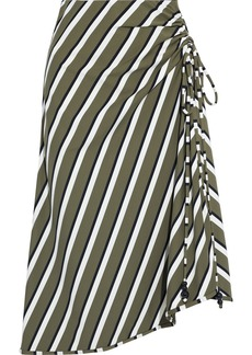 Solid & Striped Woman Ruched Striped Stretch-jersey Skirt Army Green