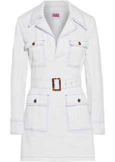 Solid & Striped Woman Safari Belted Denim Mini Dress White