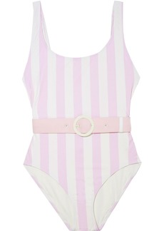 Solid & Striped Woman The Anne-marie Open-back Belted Striped Swimsuit Baby Pink