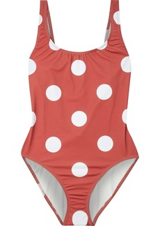 Solid & Striped Woman The Anne-marie Open-back Printed Swimsuit Brick