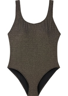 Solid & Striped Woman The Anne-marie Ribbed Lamé Swimsuit Bronze