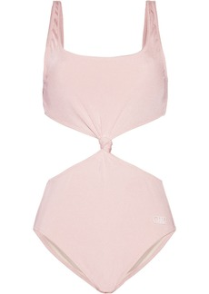 Solid & Striped Woman The Bailey Knotted Cutout Ribbed Swimsuit Pastel Pink