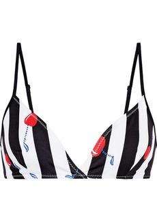 Solid & Striped Woman The Brigitte Striped Triangle Bikini Top Black