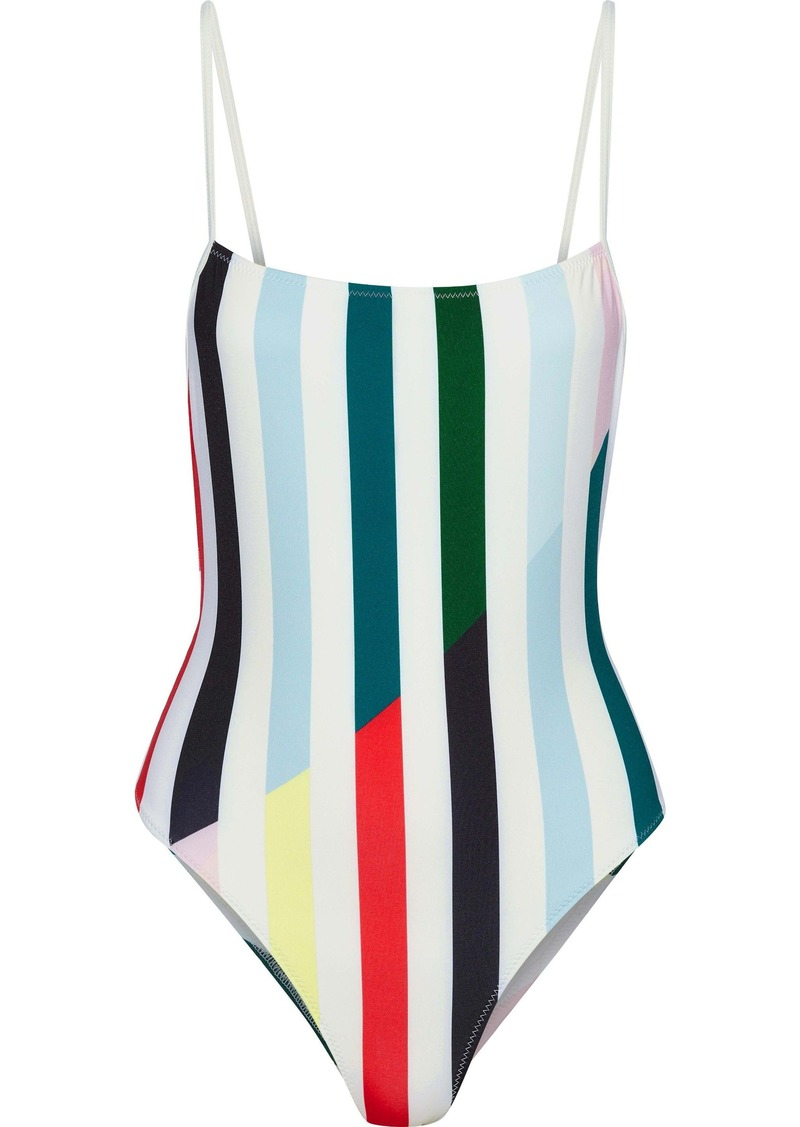 Solid & Striped Woman The Chelsea Striped Swimsuit Sky Blue