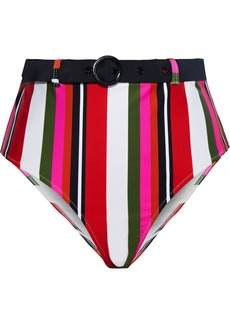 Solid & Striped Woman The Cora Belted Striped High-rise Bikini Briefs Multicolor