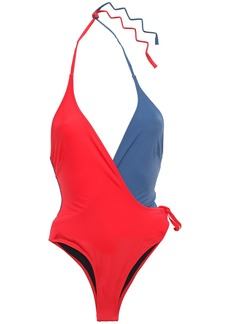 Solid & Striped Woman The Matilde Wrap-effect Two-tone Halterneck Swimsuit Red