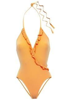 Solid & Striped Woman The Nadine Ruffle-trimmed Seersucker Halterneck Swimsuit Saffron