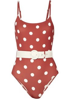 Solid & Striped Woman The Nina Belted Polka-dot Swimsuit Antique Rose