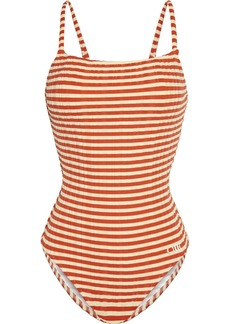 Solid & Striped Woman The Nina Striped Ribbed Swimsuit Tan