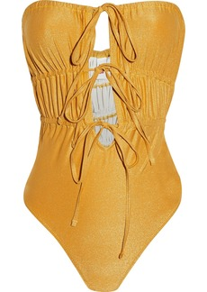 Solid & Striped Woman The Paula Ruched Metallic Bandeau Swimsuit Gold