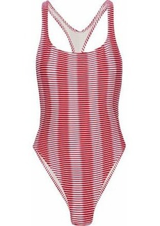Solid & Striped Woman The Robin Cutout Striped Swimsuit Red