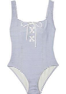 Solid & Striped Woman The Sophia Lace-up Striped Stretch-seersucker Swimsuit White