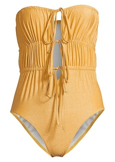 Solid & Striped The Paula Ruched Tie-Front One-Piece Swimsuit