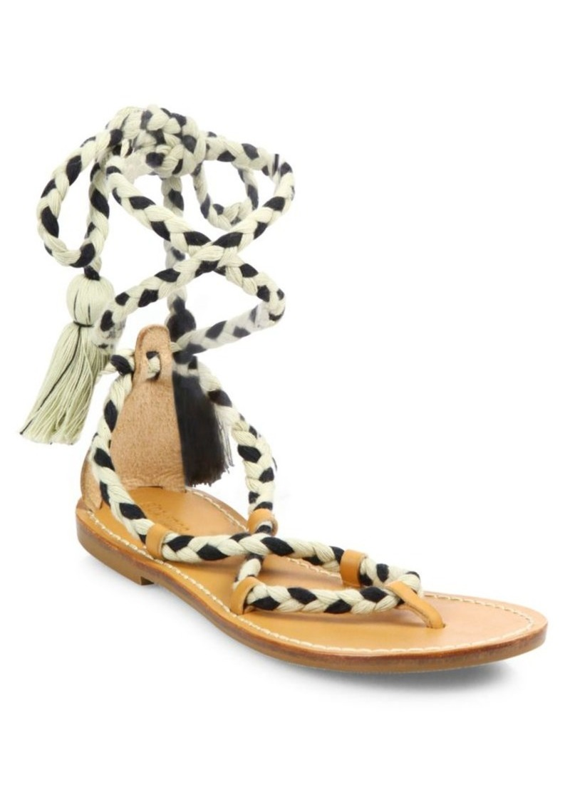 50bfd44e9ddb Soludos Cotton Lace-Up Flat Sandals