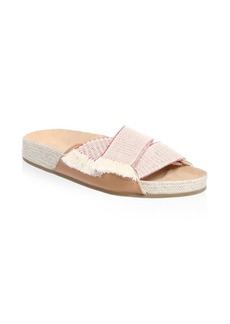 Soludos Crisscross Frayed Slides