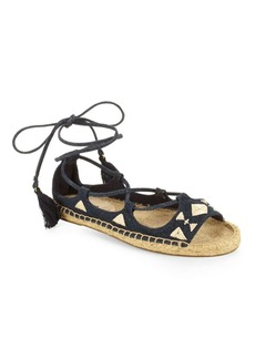 Soludos Embroidered Denim Ankle-Tie Sandals