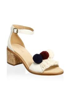 Soludos Pom-Poms Block Heel Sandals