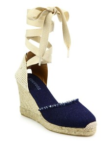 Soludos Denim Ankle-Wrap Wedge Espadrilles