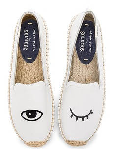 Soludos Embroidered Platform Smoking Slipper in White. - size 6.5 (also in 7.5,8.5,9.5)
