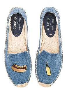 Soludos Embroidered Smoking Slipper in Blue. - size 8 (also in 6,9)