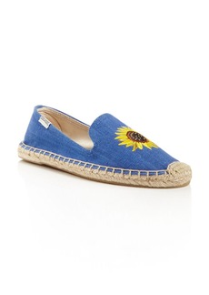 Soludos Embroidered Sunflower Smoking Slipper Espadrille Flats