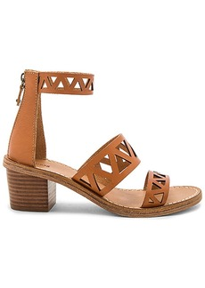 Soludos Geo Laser Cut Mid Heel Sandal in Tan. - size 10 (also in 6,7,8,8.5,9,9.5)