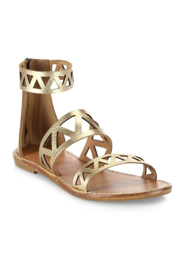 Soludos Geometric Laser-Cut Metallic Leather Sandals