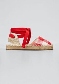 Soludos Lauren Gingham Ankle-Wrap Espadrille Sandals