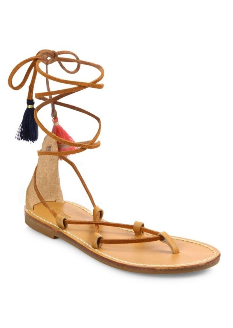 2852c8bcaceb Soludos Soludos Leather   Cotton Lace-Up Flat Sandals