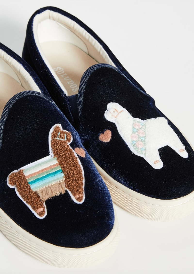 Soludos Llamas in Love Velvet Slip On Sneakers