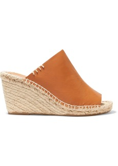 Soludos Woman Leather Wedge Espadrille Mules Tan
