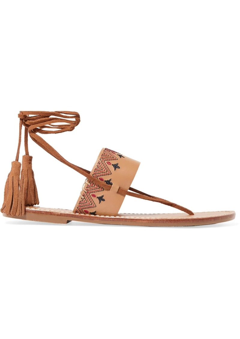 Soludos Woman Tasseled Embroidered Leather Sandals Tan