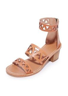 Soludos Women's Geo Laser Cut Mid Heel Sandals   B(M) US