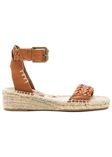 Soludos Woven Demi Wedge Sandal in Cognac. - size 8 (also in 7,9)
